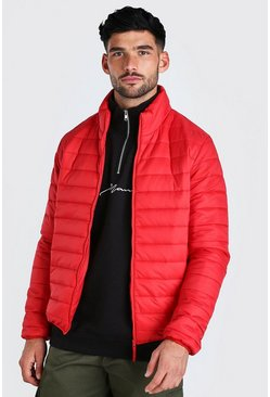 Red Foldaway Padded Jacket With Bag