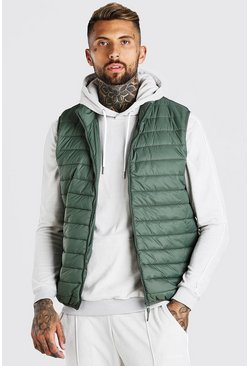Olive Man Dash Foldaway Padded Gilet With Bag