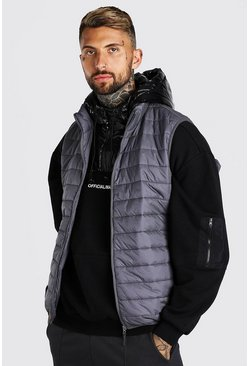 Dark grey Man Dash Foldaway Padded Gilet With Bag