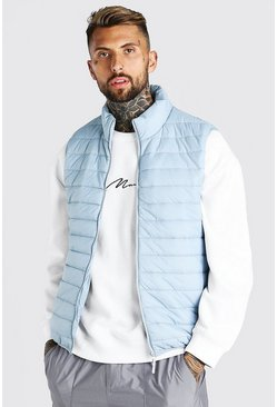 Light grey Foldaway Padded Gilet With Bag