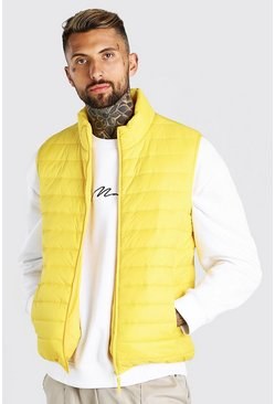 Yellow Foldaway Padded Gilet With Bag