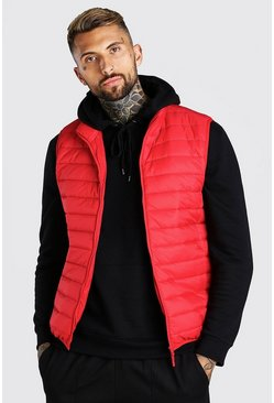 Red Foldaway Padded Gilet With Bag