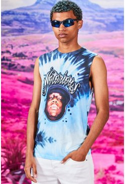 Blue Tie Dye Notorious Big License Drop Arm Tank