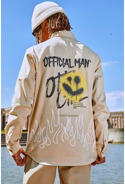 Stone Official Man Graffiti Back Print Overshirt