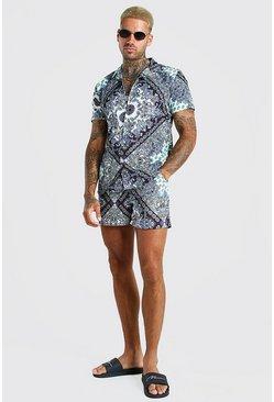Mint MAN Short Sleeve Revere Collar Shirt And Swim Short