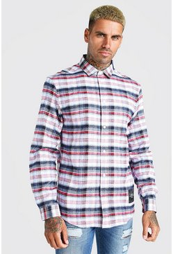 White Check Shirt With MAN Woven Tab