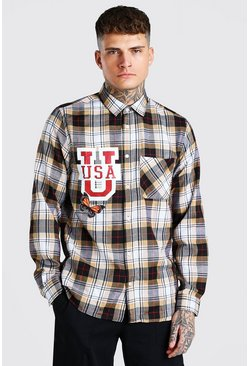 Yellow Check Shirt With USA Front Print