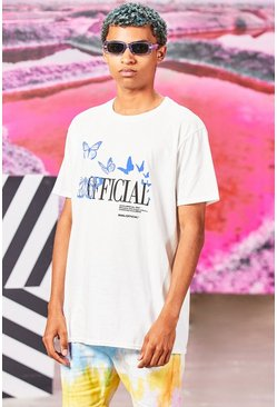 White Oversized MAN Official Butterfly Print T-Shirt