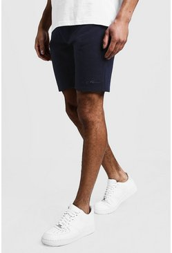 Mens Navy MAN Signature Mid Length Jersey Shorts