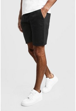 Mens Black MAN Signature Mid Length Jersey Shorts