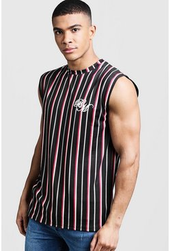 Mens Red BM Embroidered Stripe Drop Armhole Tank