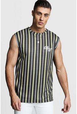 Mens Yellow BM Embroidered Stripe Drop Armhole Tank