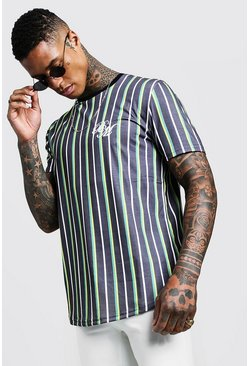 Mens Green BM Embroidered Curve Hem Stripe T-Shirt