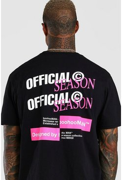 Black Oversized Official MAN Repeat Back Print T-Shirt