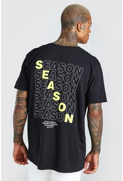 Black Oversized New Season Back Print T-Shirt