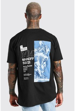 Black Oversized Official MAN Statue Back Print T-Shirt