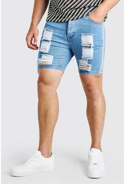 Light blue Big And Tall Slim Fit Jean Short With Tape