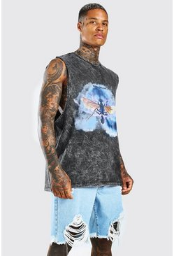 Charcoal Oversized Acid Wash Insect Drop Arm Tank