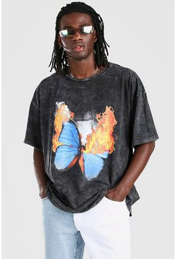 Charcoal Oversized Butterfly Flames Print T-Shirt