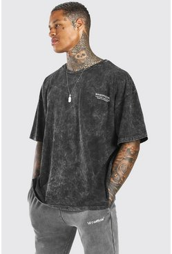 Charcoal Oversized Acid Wash MAN Butterfly T-Shirt