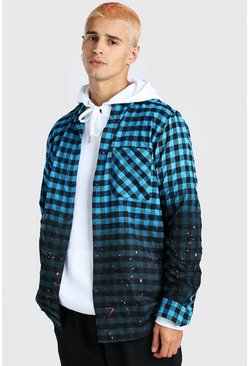 Blue MAN Official Back Print Ombre Check Shirt