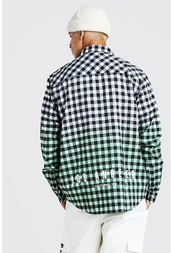 Green Los Angeles Hem Print Ombre Check Shirt
