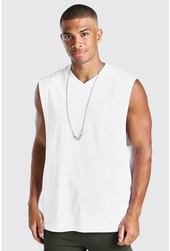 White Oversized V-Neck Tank