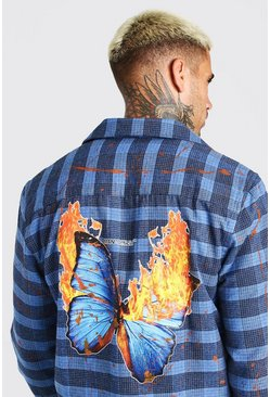 Blue Check Shirt With Splatter And Butterfly Back Print