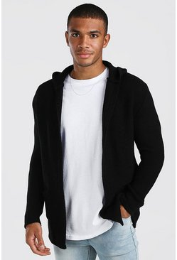 Black Longline Hooded Cardigan With Pockets