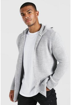 Grey marl Longline Hooded Cardigan With Pockets
