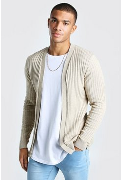 Stone Ribbed Edge To Edge Cardigan