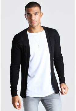 Black Ribbed Edge To Edge Cardigan