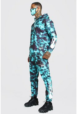 Green Tie Dye Flame Printed Tracksuit And Facemask