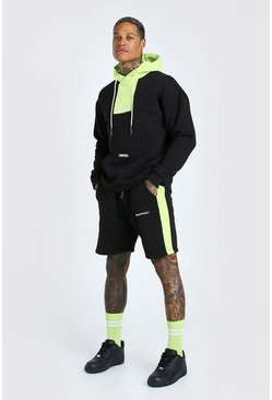 Black Man Official Colour Block Short Tracksuit