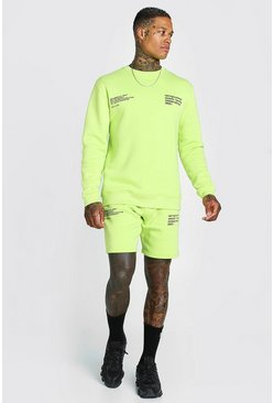 Sweat survêtement court imprimé MAN officiel, Citron vert
