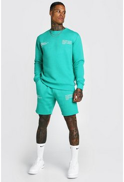 Green Man Official Printed Sweater Short Tracksuit