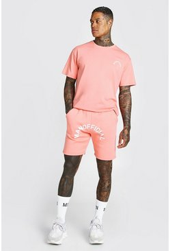 Ensemble short et t-shirt imprimé SS20 Man officiel, Corail