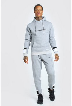 Grey marl Man Official Colour Block Tracksuit