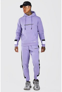 MAN Official Colorblock-Jogginganzug, Violett