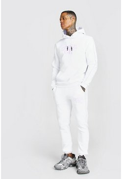 White Official Man Graffiti Print Tracksuit