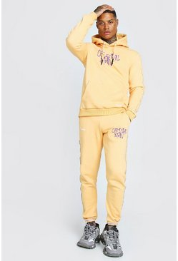 Orange Official Man Graffiti Print Tracksuit