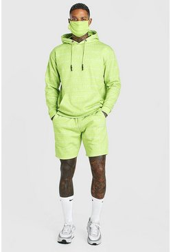 Lime Official All Over Print Short Tracksuit And Facemask