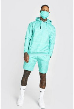 Green Official All Over Print Short Tracksuit & Facemask