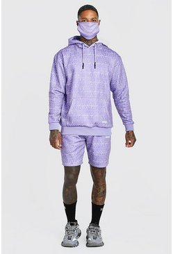 Purple Official All Over Print Short Tracksuit & Facemask