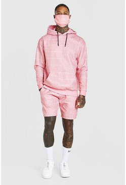 Coral Official All Over Print Short Tracksuit & Facemask