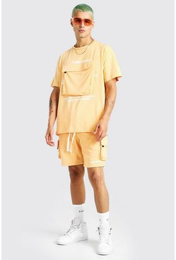 Orange Man Official Cargo Pocket T-Shirt & Short Set