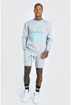 Grey marl LA Graphic Print Sweater Short Tracksuit