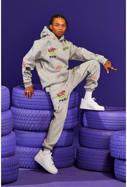 Grey  Official Worldwide Printed Tracksuit