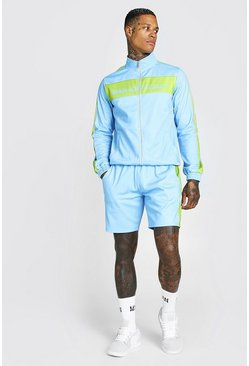 Blue MAN Official Tricot Funnel Neck Short Tracksuit