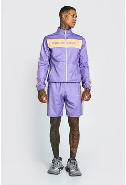 Purple MAN Official Tricot Funnel Neck Short Tracksuit